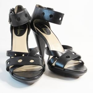 Cole Haan Black Leather Dressy Ankle Strap Sandals